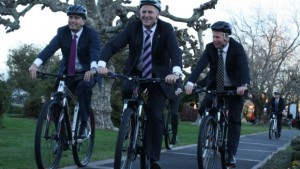 Simon Bridges, John Key and Todd McClay, on a ride around Government Gardens in Rotorua