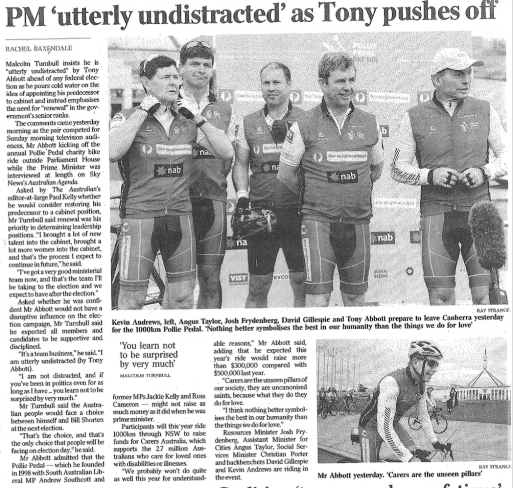 Pollie Bike Ride: The Australian, April 4th, 2016