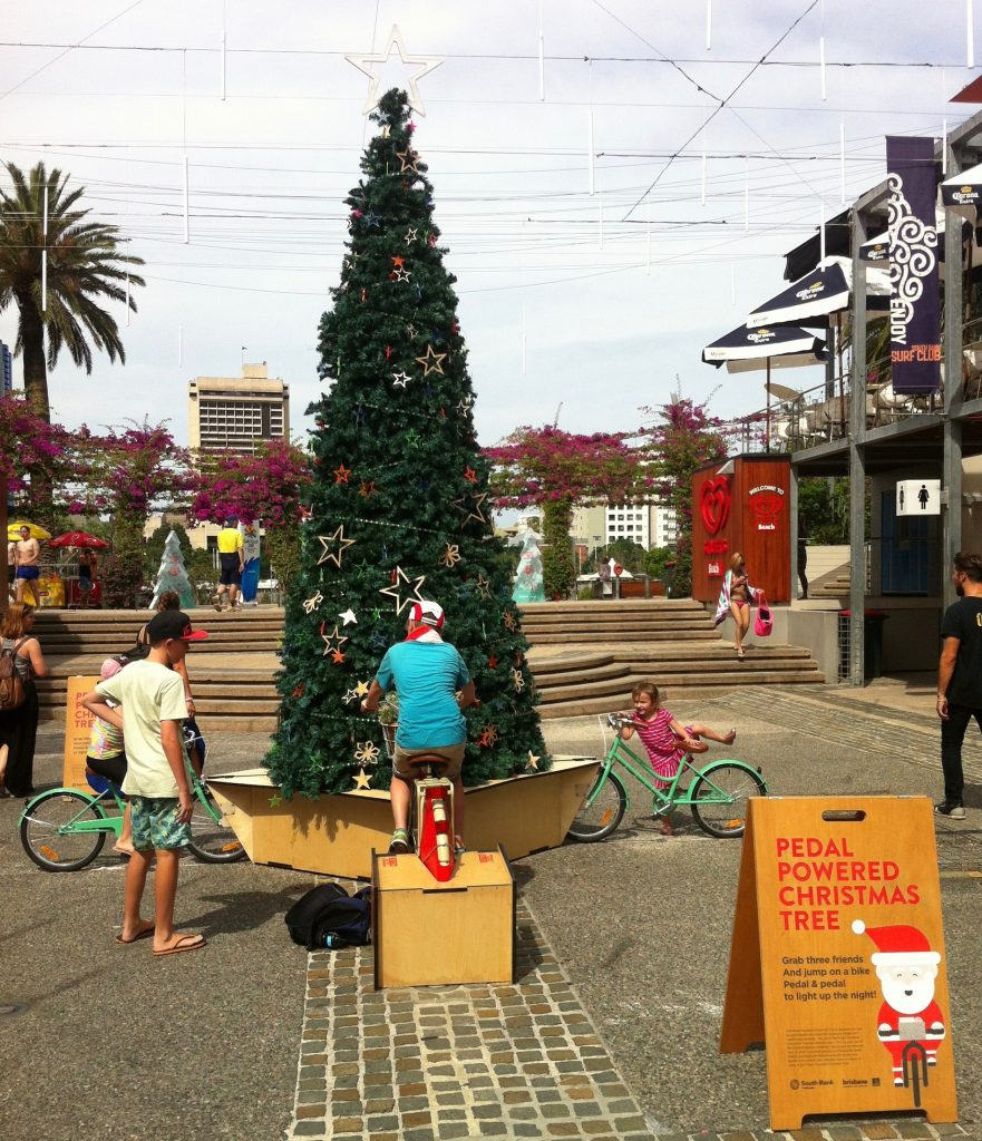 Bicycle-powered Christmas tree
