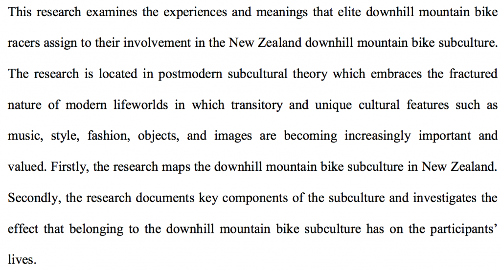 The Downhill Mountain Bike Subculture in New Zealand