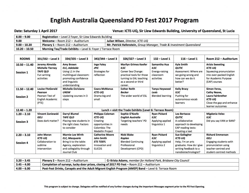 English Australia (Queensland Branch) PD Fest