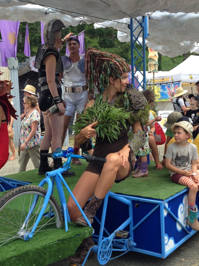 Bikes at Woodford Folk Festival. Bicycles Create Change.com 29th Dec 2017.