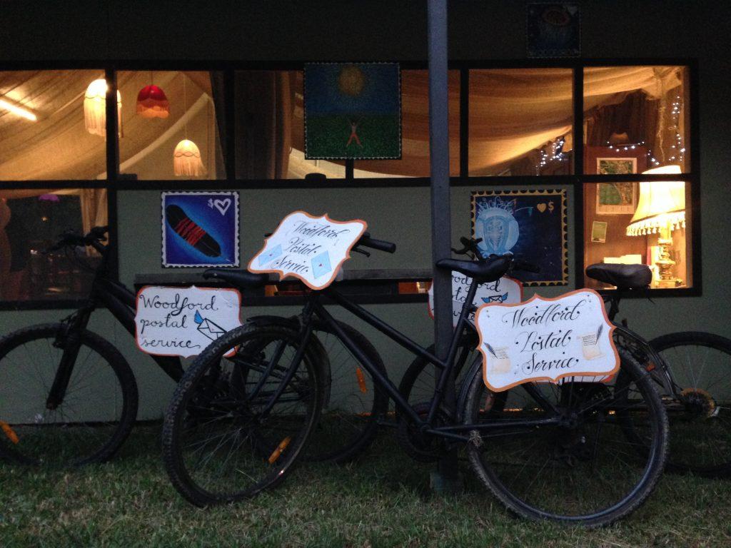 Bikes at Woodford Folk Festival. Bicycles Create Change.com 29th Dec 2017.