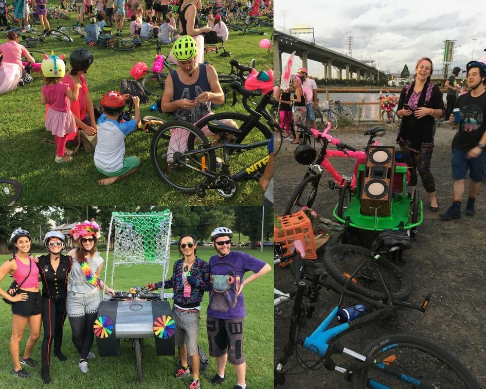 Bike Rave Melburn - Pink Flamingo 2018. Bicycles Create Change.com 22nd Feb 2018