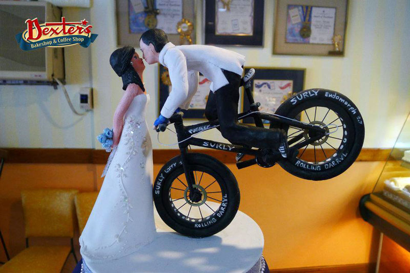 The Bicycle Cake Phenomenon Sponge Or Chocolate Personalised Mr And Mrs Tandem Wedding Topper Set